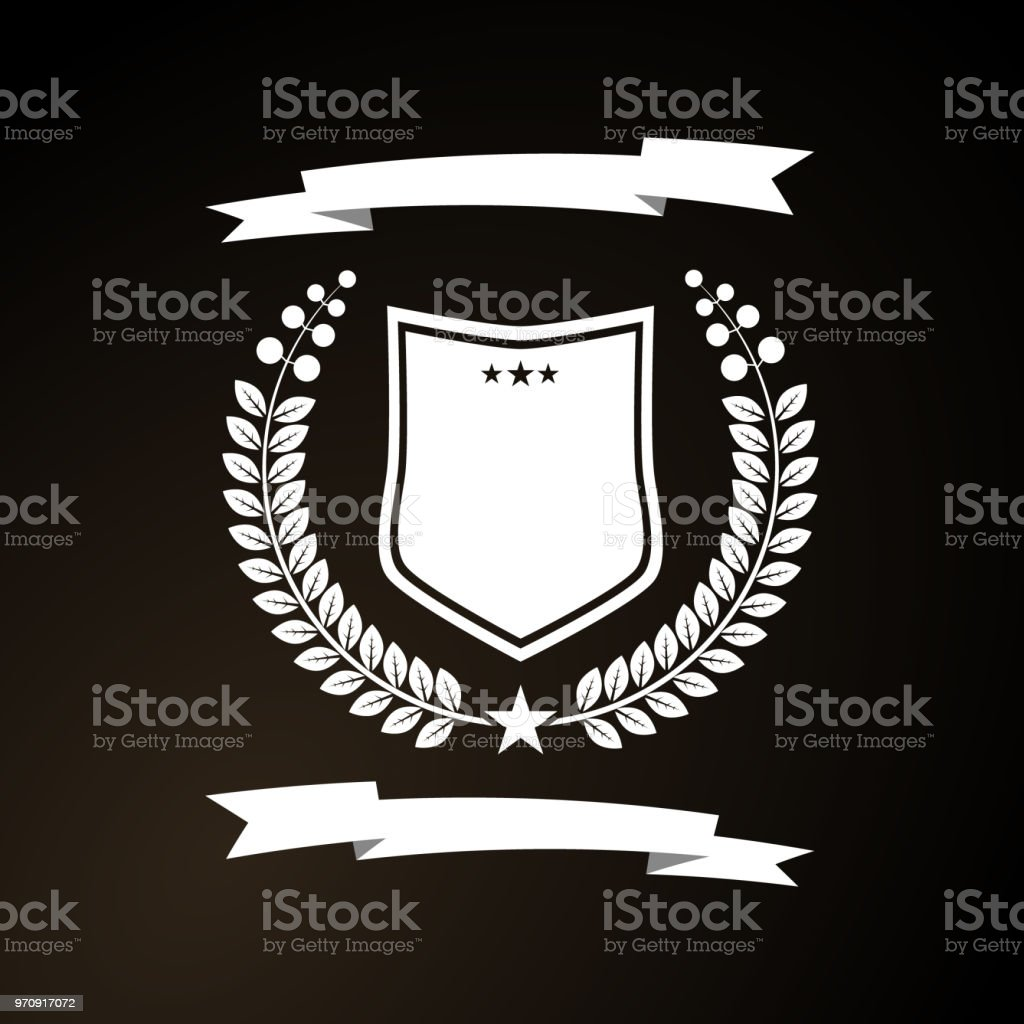 White Template Simple Shapes Of Shield Ribbon And Laurel Wreath For Logos On A Black