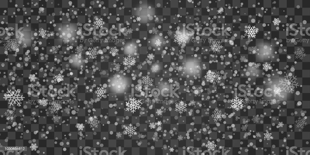 Wie Fällt Weihnachten 2019.Weiße Zarte Schneeflocken Schnee Fällt Auf Transparenten Hintergrund