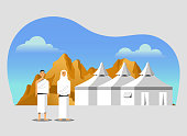 Muslim pilgrims at Mina tents area. One of Islam's sacred pilgrimage route. Suitable for info graphic.