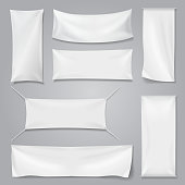 White textile advertising banners with folds template set.
