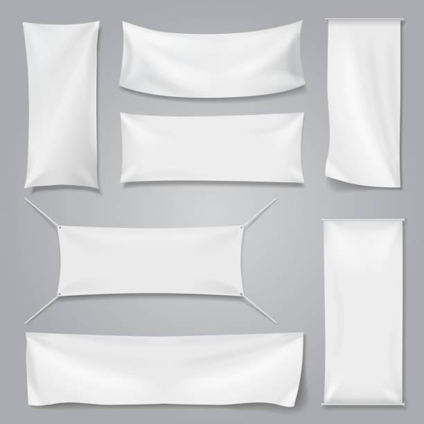 White textile advertising banners with folds template set. – Vektorgrafik