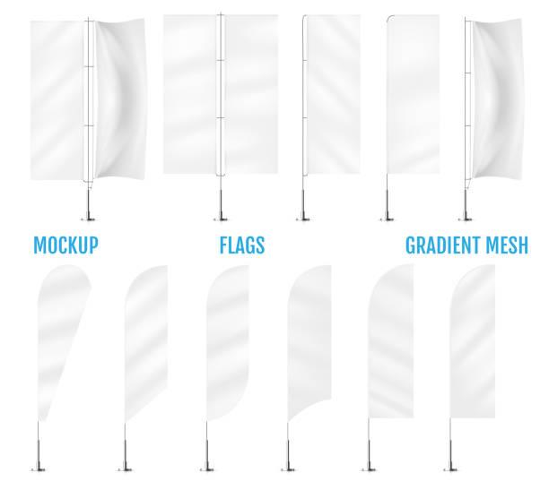 White textile banner flags. Banner flag mockups set. Set of vector advertising mockups. vector art illustration