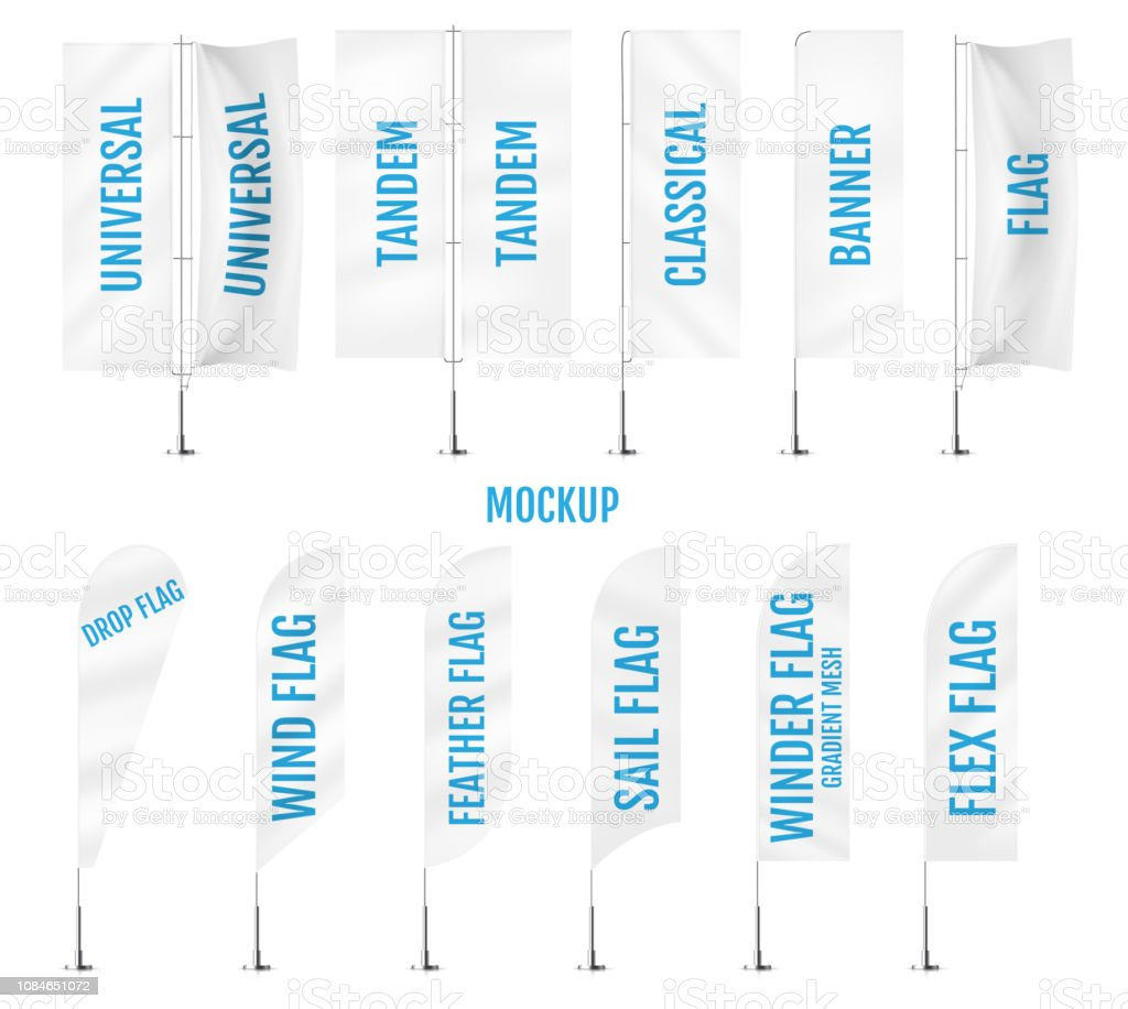 White textile banner flags. Banner flag mockups set. Set of vector advertising mockups. vector art illustration