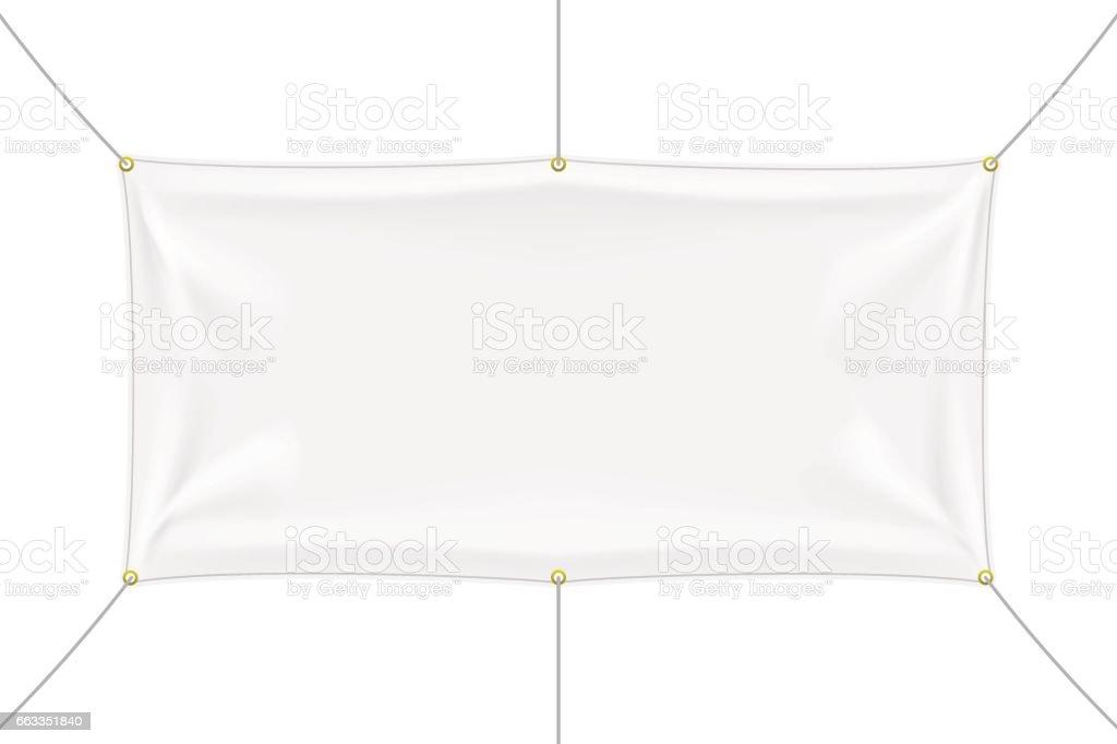White Textile Banner Mockup With Folds Stock Illustration