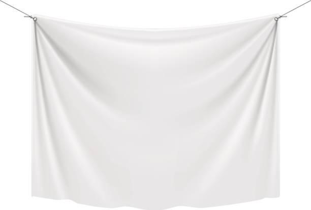 white textile banner - wisieć stock illustrations