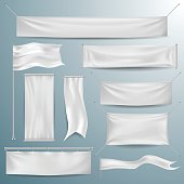 White textile banners and flags
