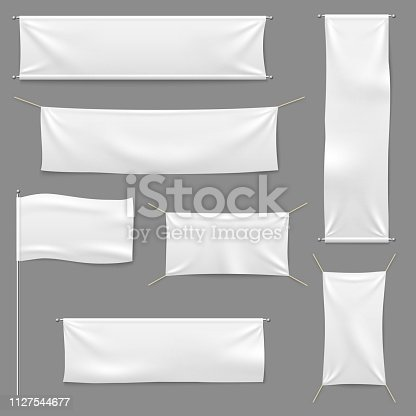 White textile banners. Blank fabric flag hanging canvas sale ribbon horizontal White textile banntemplate advertising cloth vector banner set