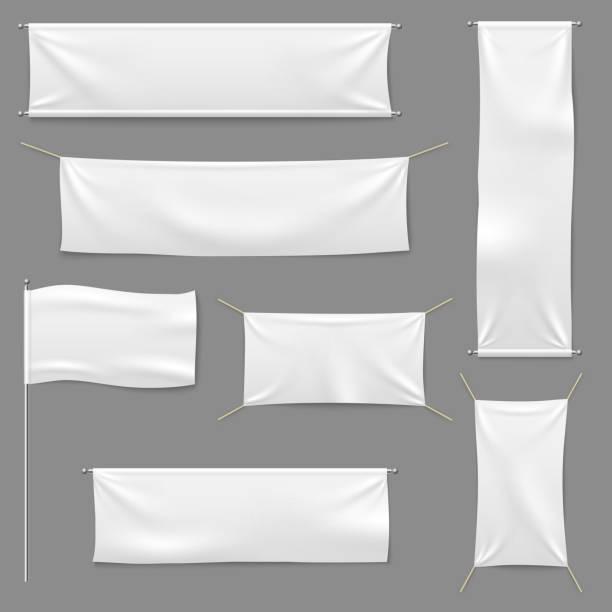 白色紡織品橫幅。空白麵料標誌懸掛帆布銷售絲帶水準範本廣告布向量橫幅集 - 紡織品 幅插畫檔、美工圖案、卡通及圖標