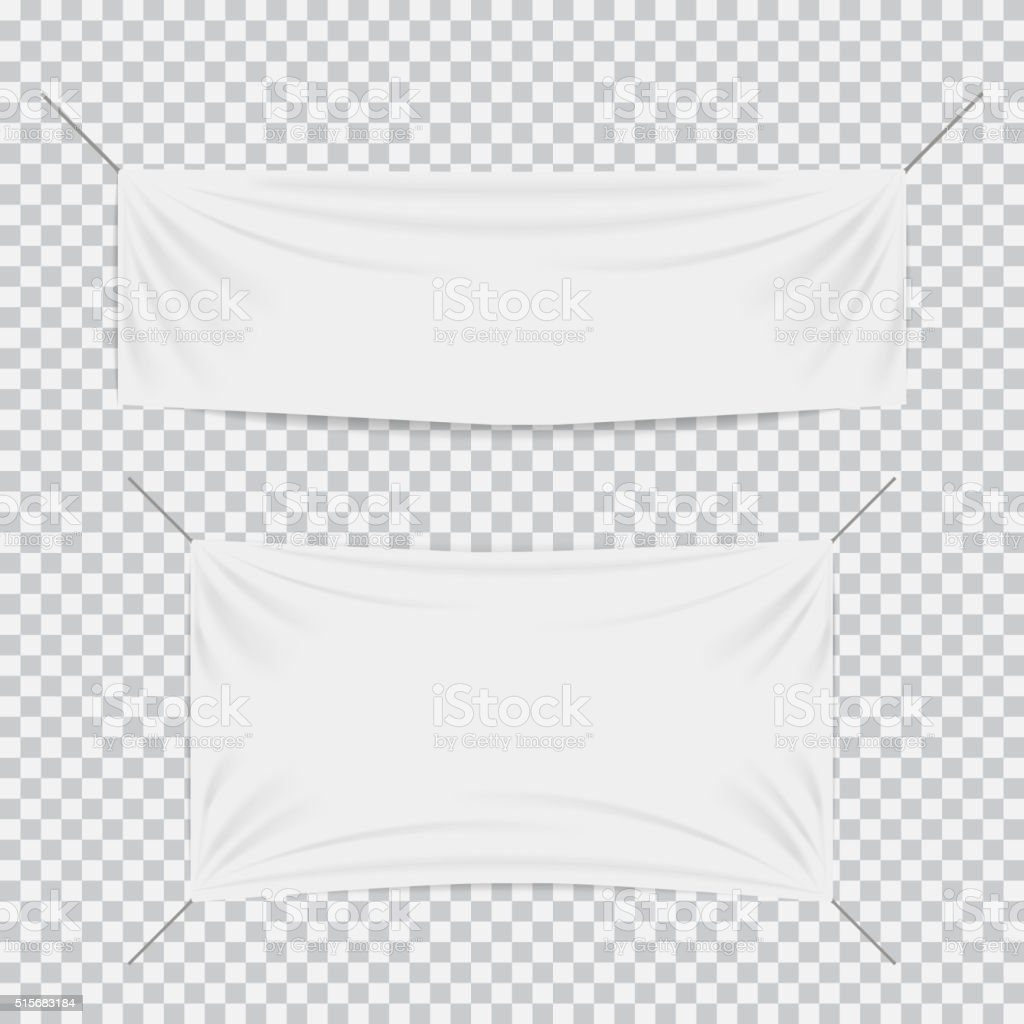White textile banners with folds template set vector art illustration