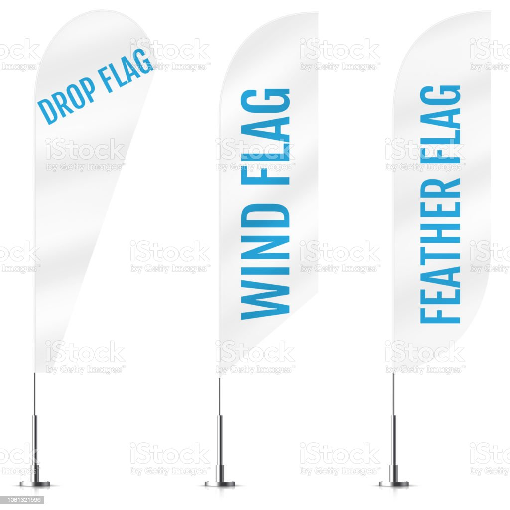 White textile drop, wind and feather banner flags. Banner flag mockups set. Set of vector advertising mockups. vector art illustration