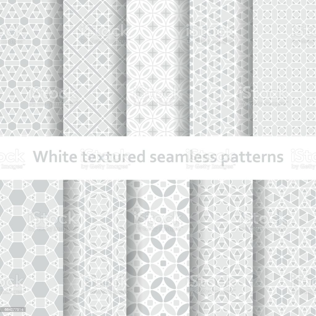 White textured seamless patterns set vector art illustration
