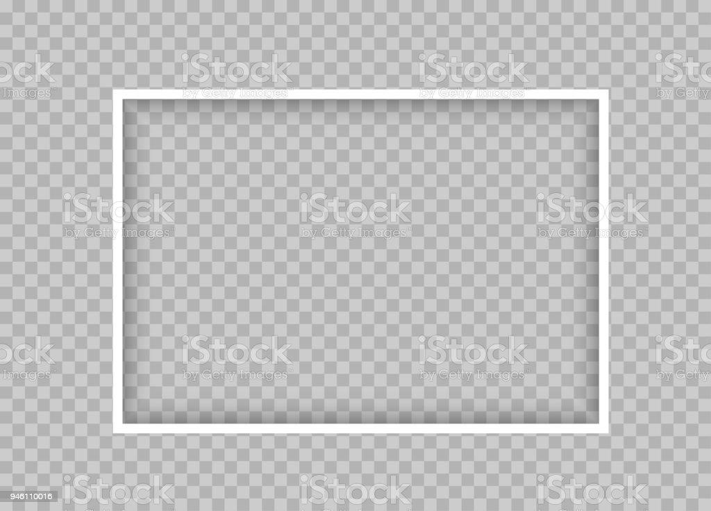 Marco Rectangular Fina Blanca Con Sombra - Arte vectorial de stock y ...