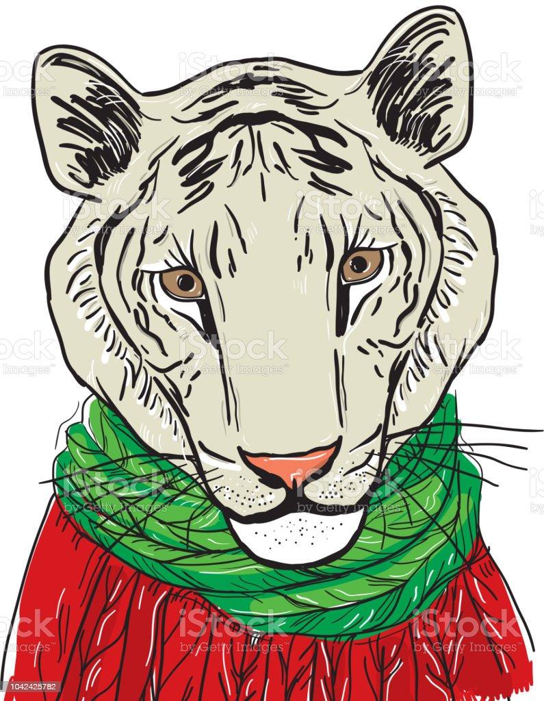 Tête De Tigre Blanc Dans Un Pull Rouge Et Une écharpe Verte