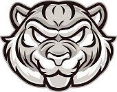 Gray tiger mascot head