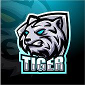 Vector Illustration of White tiger mascot esport logo design