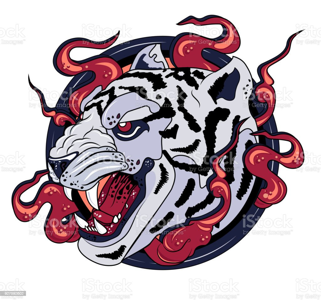 White Tiger Print Symbol Stock Vector Art More Images Of