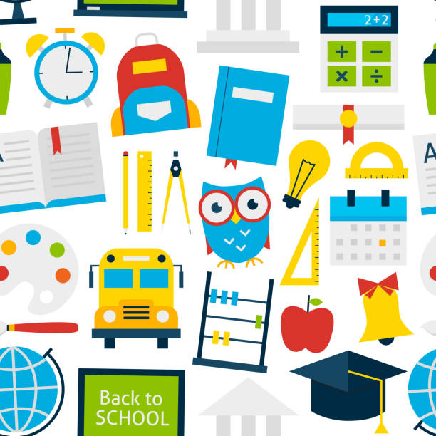 white tile pattern back to school - grundschule stock-grafiken, -clipart, -cartoons und -symbole