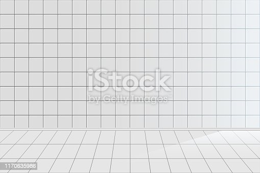 White tile realistic vector background. Clean empty bathroom with nobody inside 3D horizontal backdrop design. Ceramic texture, tiled room, kitchen blank wall and floor illustration