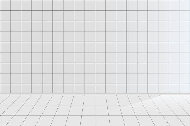 White tile realistic vector background White tile realistic vector background. Clean empty bathroom with nobody inside 3D horizontal backdrop design. Ceramic texture, tiled room, kitchen blank wall and floor illustration bathroom backgrounds stock illustrations