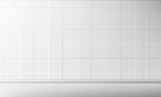 White tile wall and floor in bathroom background