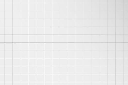 White tile wall. Pattern of ceramic tiled grid for bathroom, kitchen or toilet interior. Realistic 3d square tile with shadow. Vector