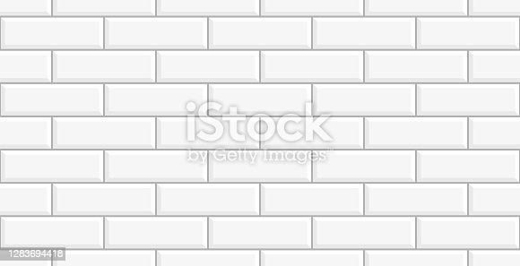 istock White tile wall 1283694418