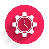 White Time Management icon isolated with long shadow. Clock and gear sign. Productivity symbol. Red circle button. Vector Illustration