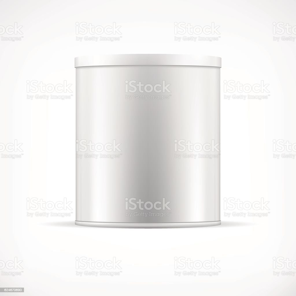 White tin can with plastic cap. Realistic round vector container. – Vektorgrafik