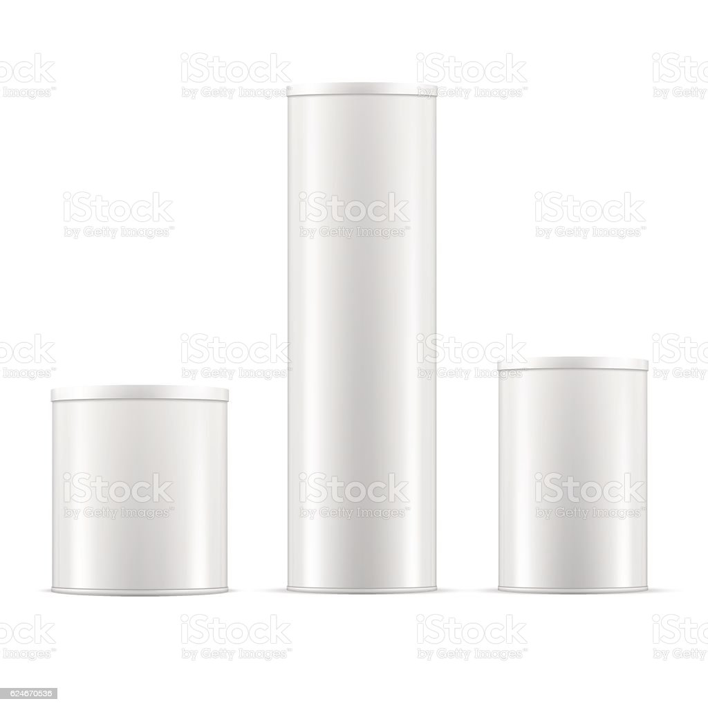 White tin cans. Tin box collection with caps. Vector containers. vector art illustration