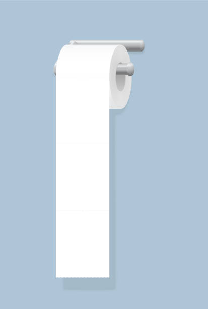 Weiße Toilettenpapierrolle hängt auf Chromhalter. Isolierte Vektor-Illustration auf blauem Hintergrund. – Vektorgrafik