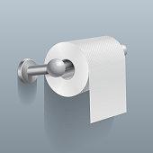 White toilet paper roll, serviette on wall vector illustration