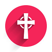 White Tombstone with cross icon isolated with long shadow. Grave icon. Red circle button. Vector