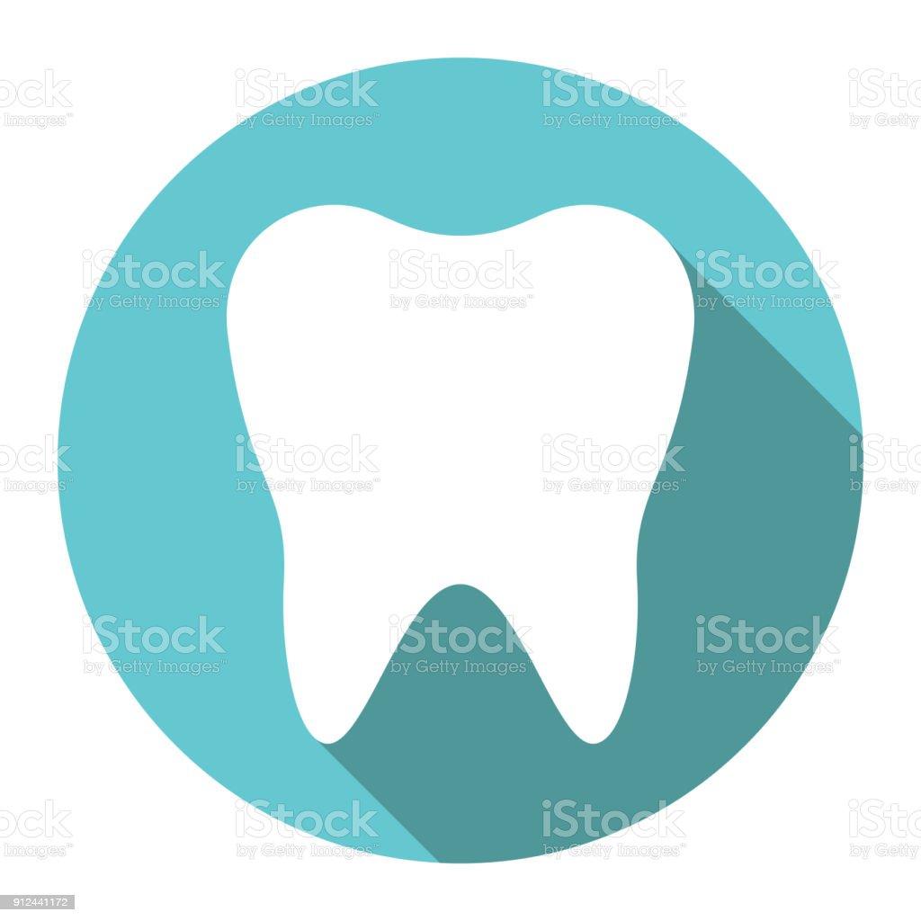 Weißer Zahn, flaches design – Vektorgrafik