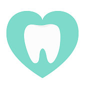 White tooth heart love icon. Healthy tooth. Oral dental hygiene. Children teeth care. Tooth health. Blue background. Isolated. Flat design. Vector illustration