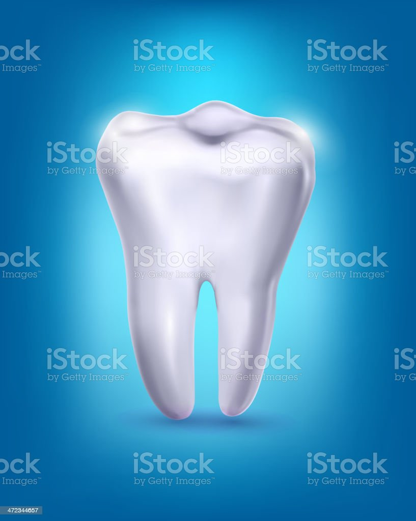White tooth on a blue background. Vector. royalty-free stock vector art