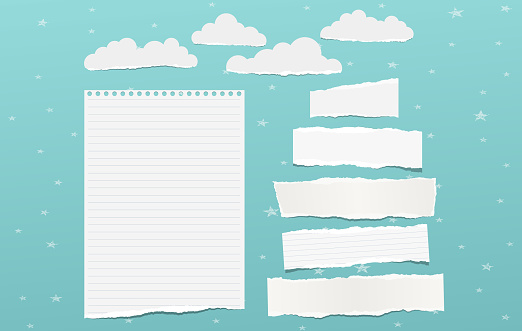 White torn note, notebook paper pieces for text, clouds with stars stuck on blue background. Vector illustration.