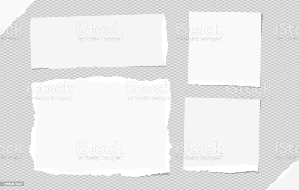 White torn note, notebook paper pieces for text stuck on gray squared background. Vector illustration. royalty-free white torn note notebook paper pieces for text stuck on gray squared background vector illustration stock vector art & more images of banner - sign