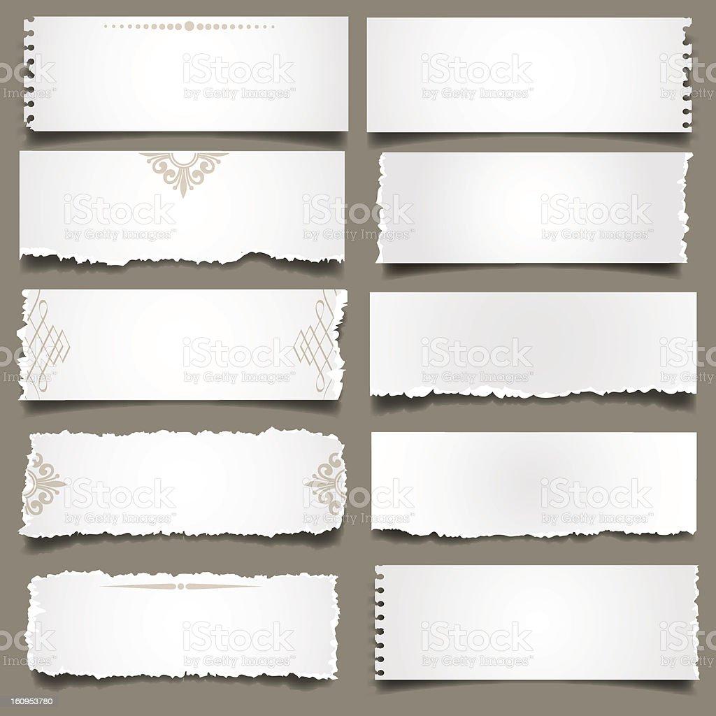 Notes de papier déchiré blanc - clipart vectoriel de Blanc libre de droits
