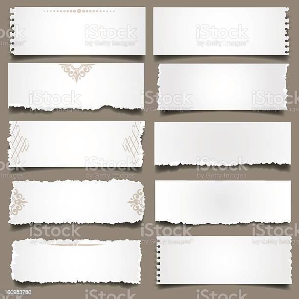 Notes De Papier Déchiré Blanc Vecteurs libres de droits et plus d'images vectorielles de Blanc