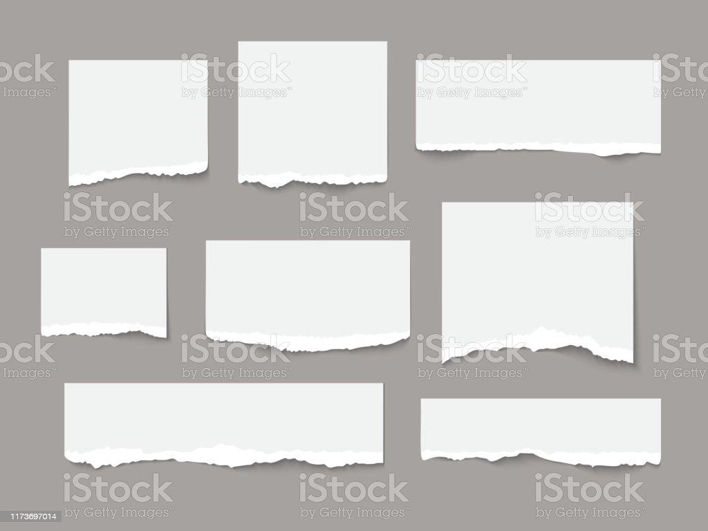 Le papier déchiré blanc déchire la collection de pièces d'isolement - clipart vectoriel de Au bord de libre de droits