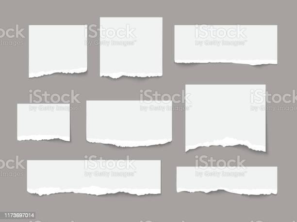 Le Papier Déchiré Blanc Déchire La Collection De Pièces Disolement Vecteurs libres de droits et plus d'images vectorielles de Au bord de