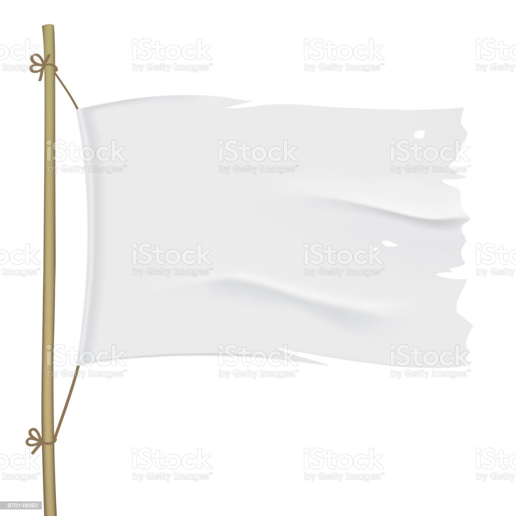 White torn vector flag close up template. vector art illustration