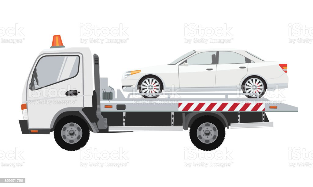 White tow truck with sedan car on it. Flat vector with solid color design. vector art illustration