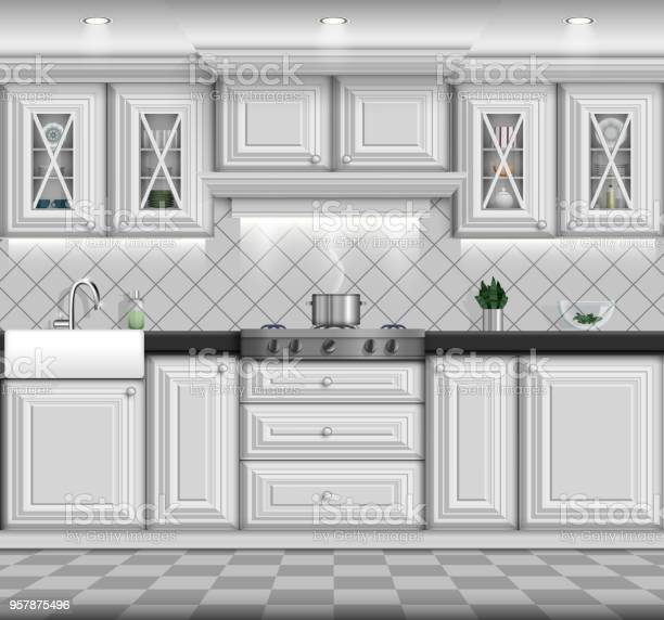 White traditional classic kitchen with modern elements vector eps10 vector id957875496?b=1&k=6&m=957875496&s=612x612&h=ha56cje uf1dkfekgbfauw94chg3xjhvsod2h7fos 4=