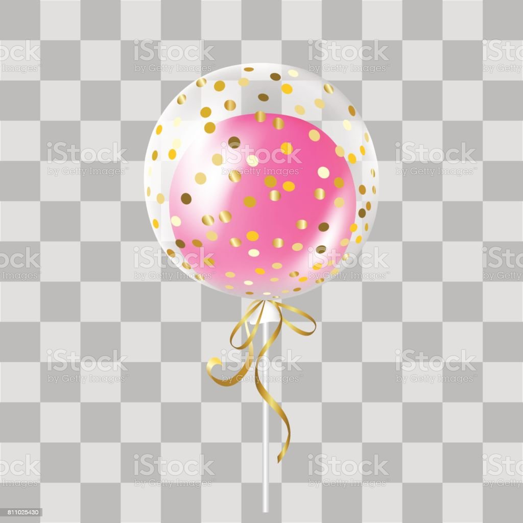 White Transparent Balloon With Gold Confetti And Pink Inside Royalty Free