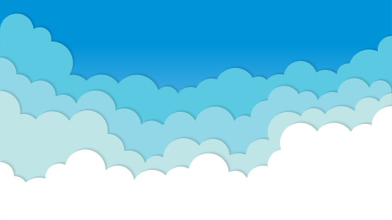 White transparent clouds paper cut layers and blue sky summer background