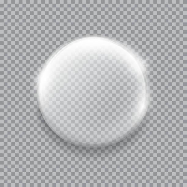 화이트 투명 유리 sphere, glares 및 하이라이트 - 반투명한 stock illustrations