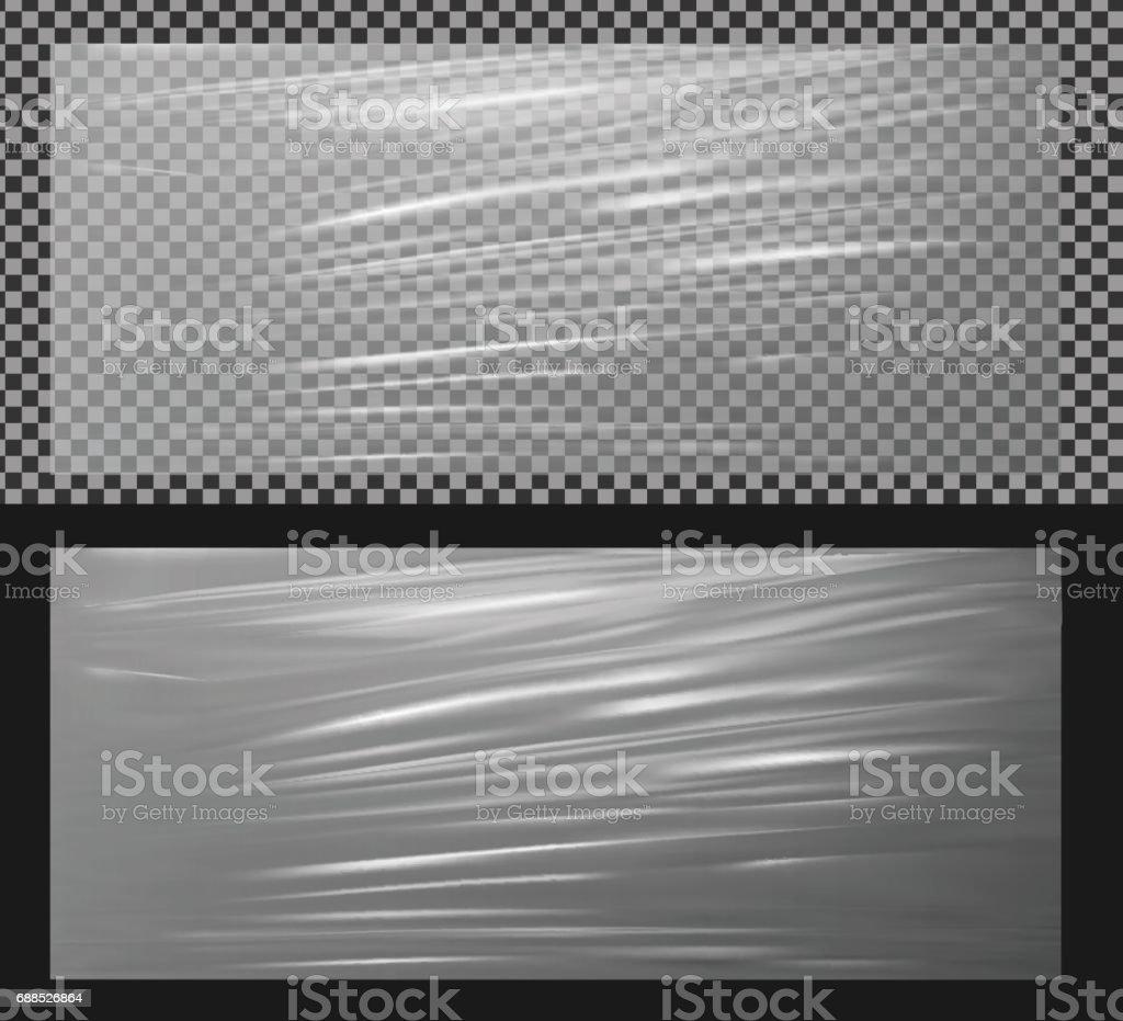 White transparent plastic wrapper vector art illustration