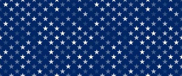 białe przezroczyste gwiazdki na niebieskim tle - american flag stock illustrations