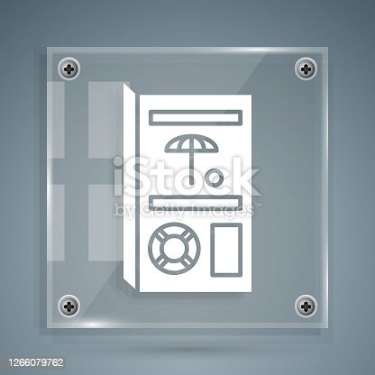 istock White Travel brochure icon isolated on grey background. Square glass panels. Vector Illustration 1266079762